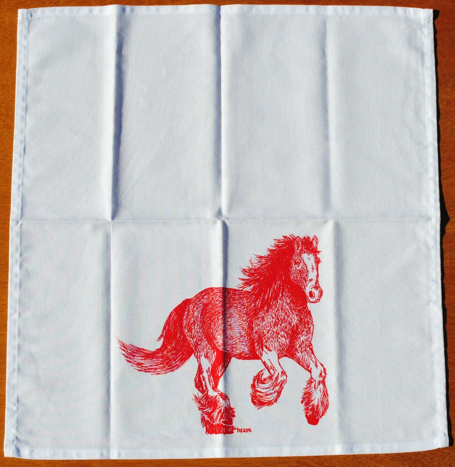kitchen napkins flush mount lights red clydesdale eco friendly screen printed gallery photo