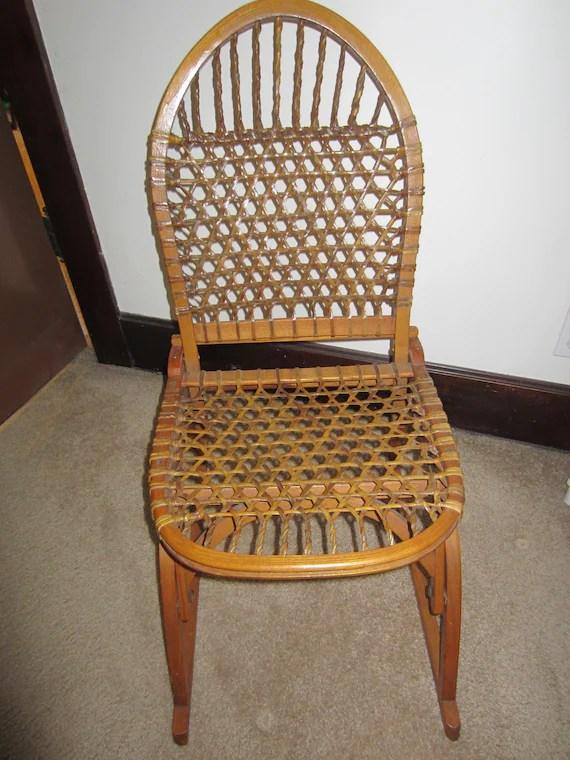 canoe chair high back folding rustic decor vintage snowshoe lodge foldable etsy image 0