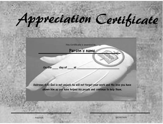 Usher Appreciation Certificate