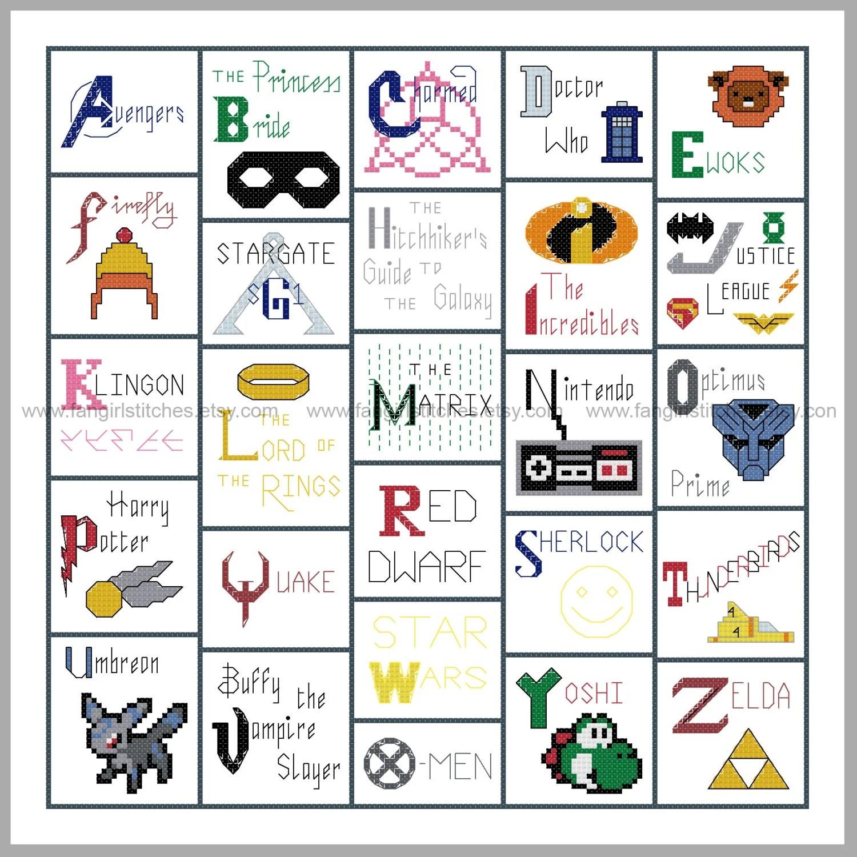 Geeky Geekery Inspired Alphabet Cross Stitch Sampler