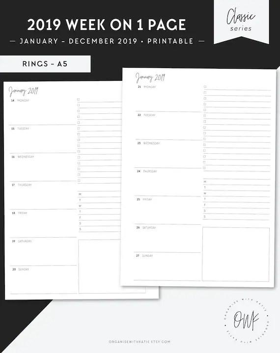 A5 2019 Weekly Planner Printable Horizontal Week on 1 Page