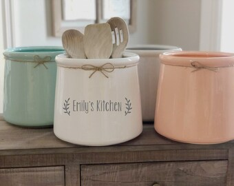 kitchen crocks chandelier utensil crock etsy personalized extra large ceramic holder custom vase wedding gift engagement christmas housewarming