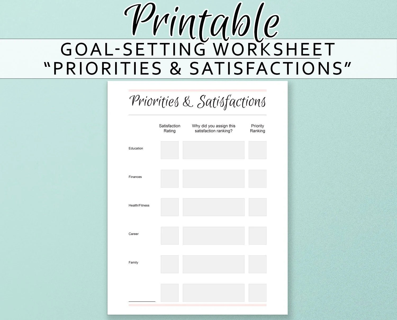 Priorities Worksheet Goal Setting Self Help Printables