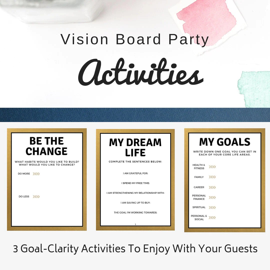Vision Board Party Activities Goal Setting Activities Goal