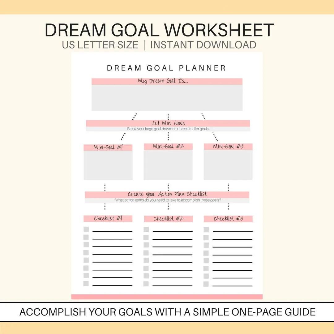 Dream Goal Planner Printable Goal Setting Printable