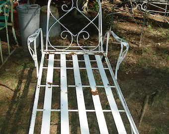 old fashioned metal lawn chairs vanity chair cheap etsy clearance sale 150 off antique outdoor furniture chaise lounge vintage patio