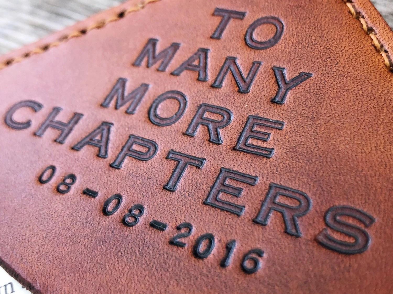 Personalized Tan Leather Corner Bookmark  Custom Message image 7