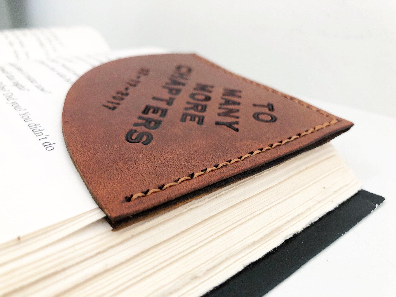 Personalized Tan Leather Corner Bookmark  Custom Message image 5