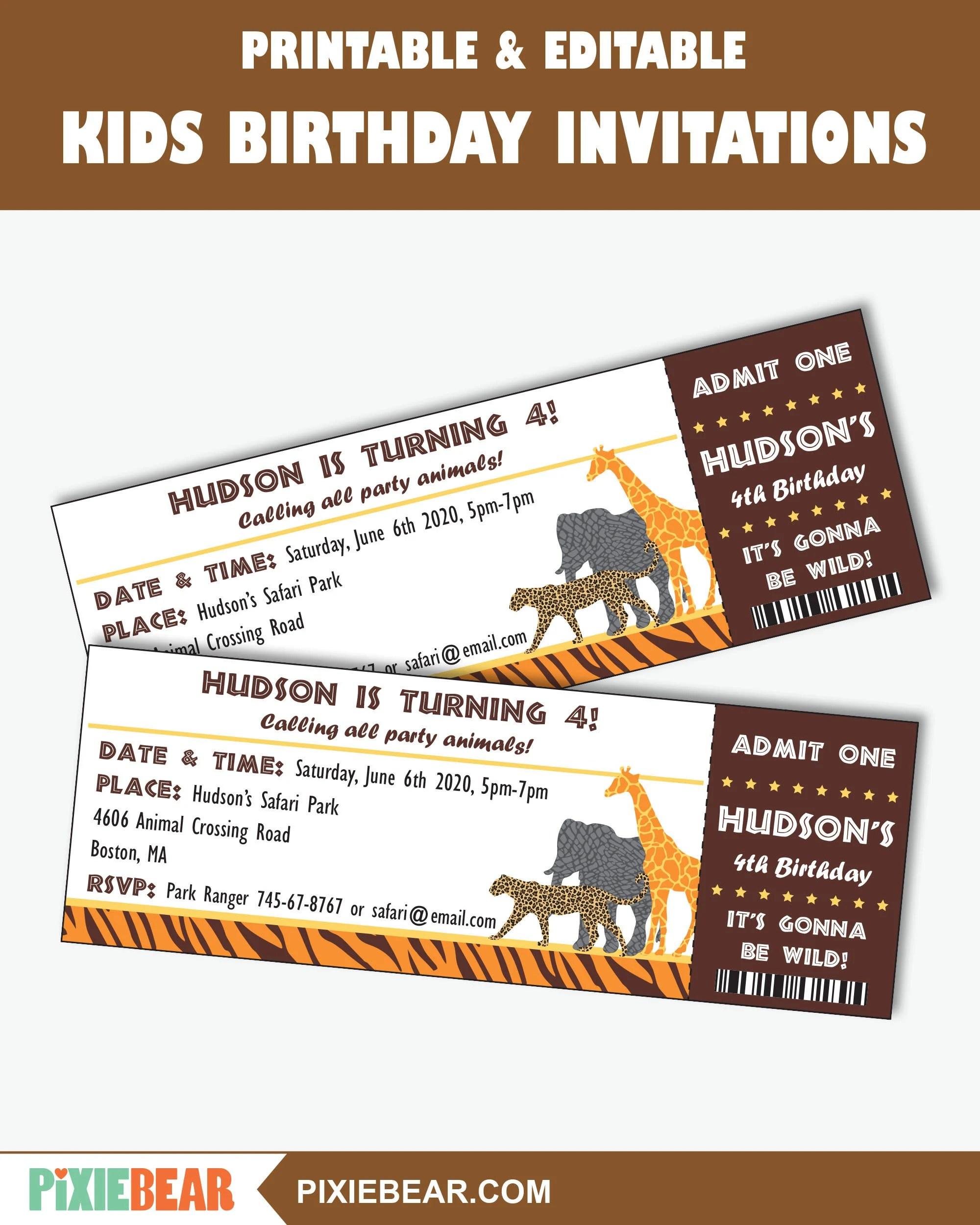 jungle birthday printable invitation
