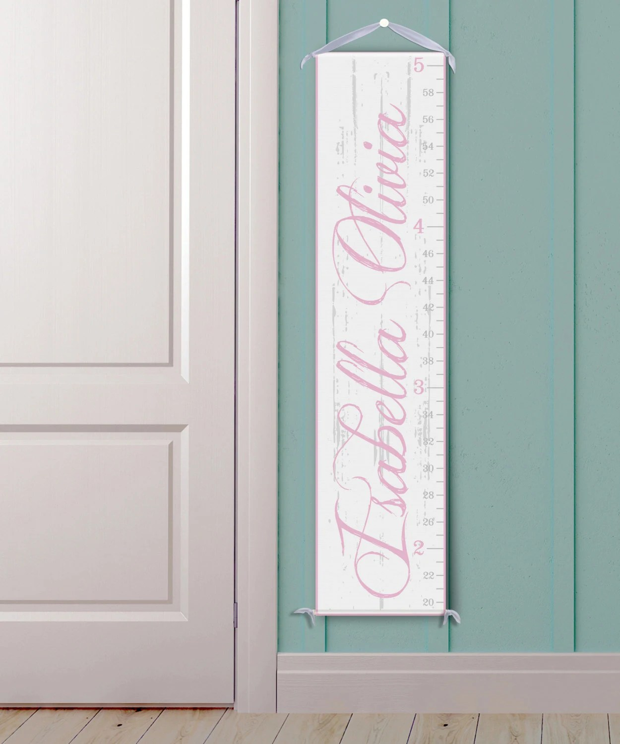 Personalized growth chart vintage inspired ruler in white and pink also etsy rh