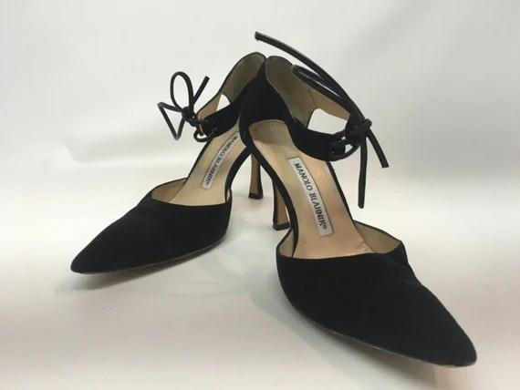 Vintage Black Suede Manolo Blahnik Shoes Vintage Sexy Black Etsy