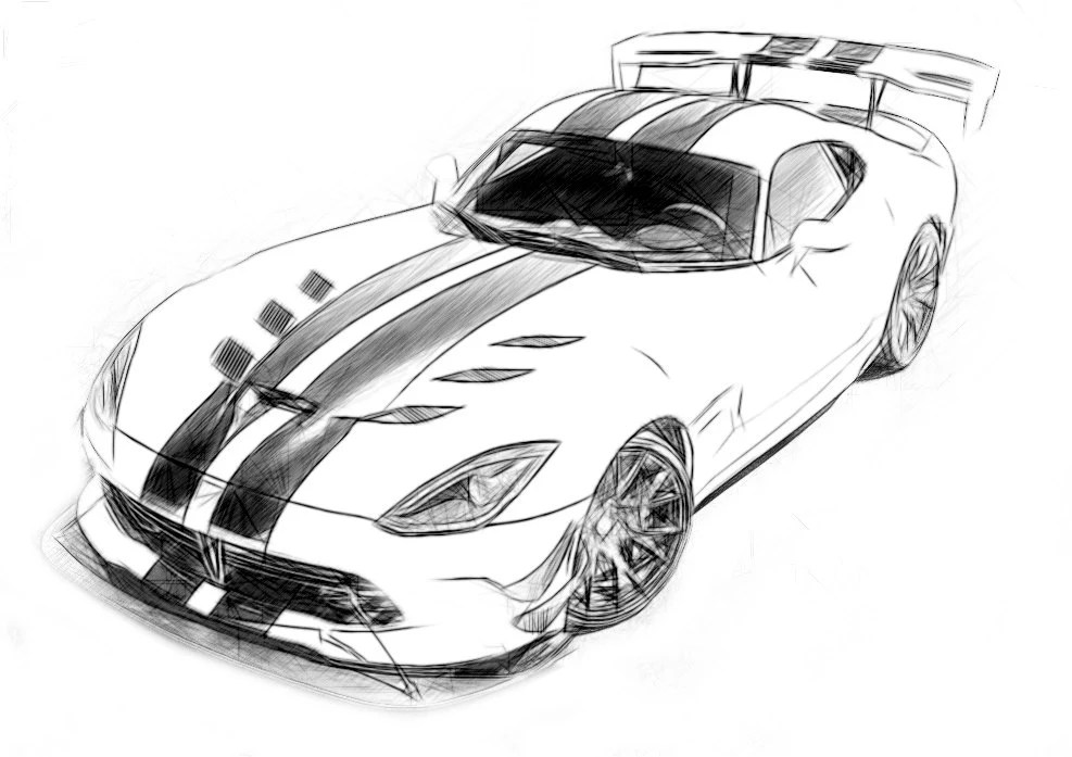 Dodge Viper ACR GTS-R Drawing T shirt I can draw Your Car