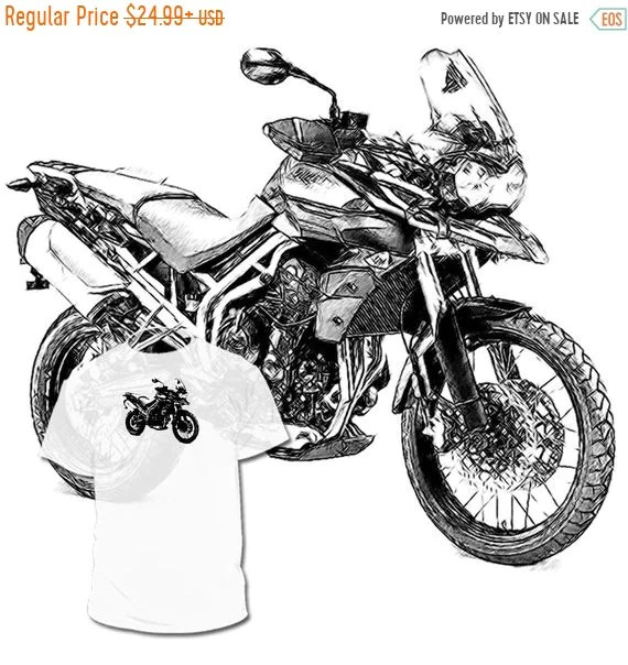 40% OFF Sale Triumph Tiger 800 XC Drawing T shirt Trophy