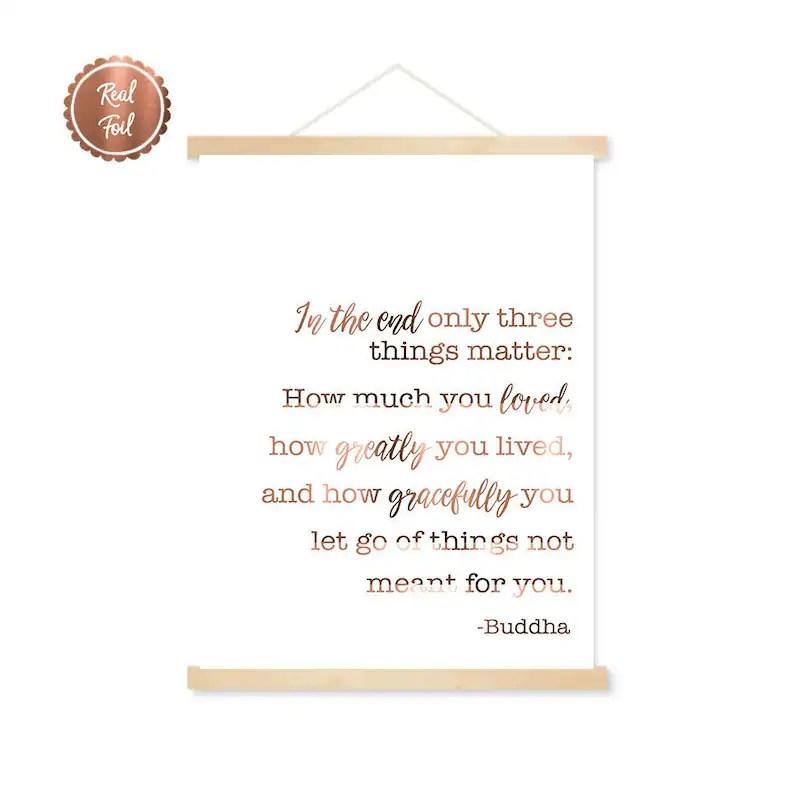 buddha quote copper foil