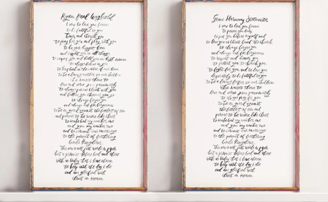 Custom Wedding Vows Calligraphy Print For 1st Anniversary Cute766