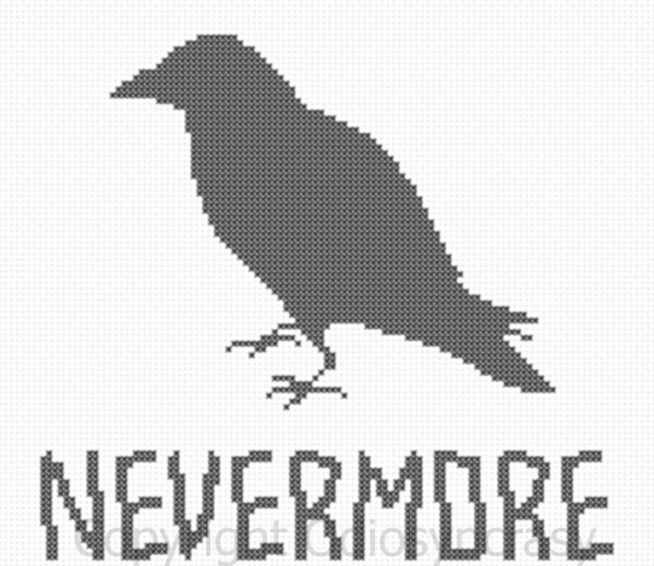 Edgar Allen Poe Nevermore Raven counted cross stitch