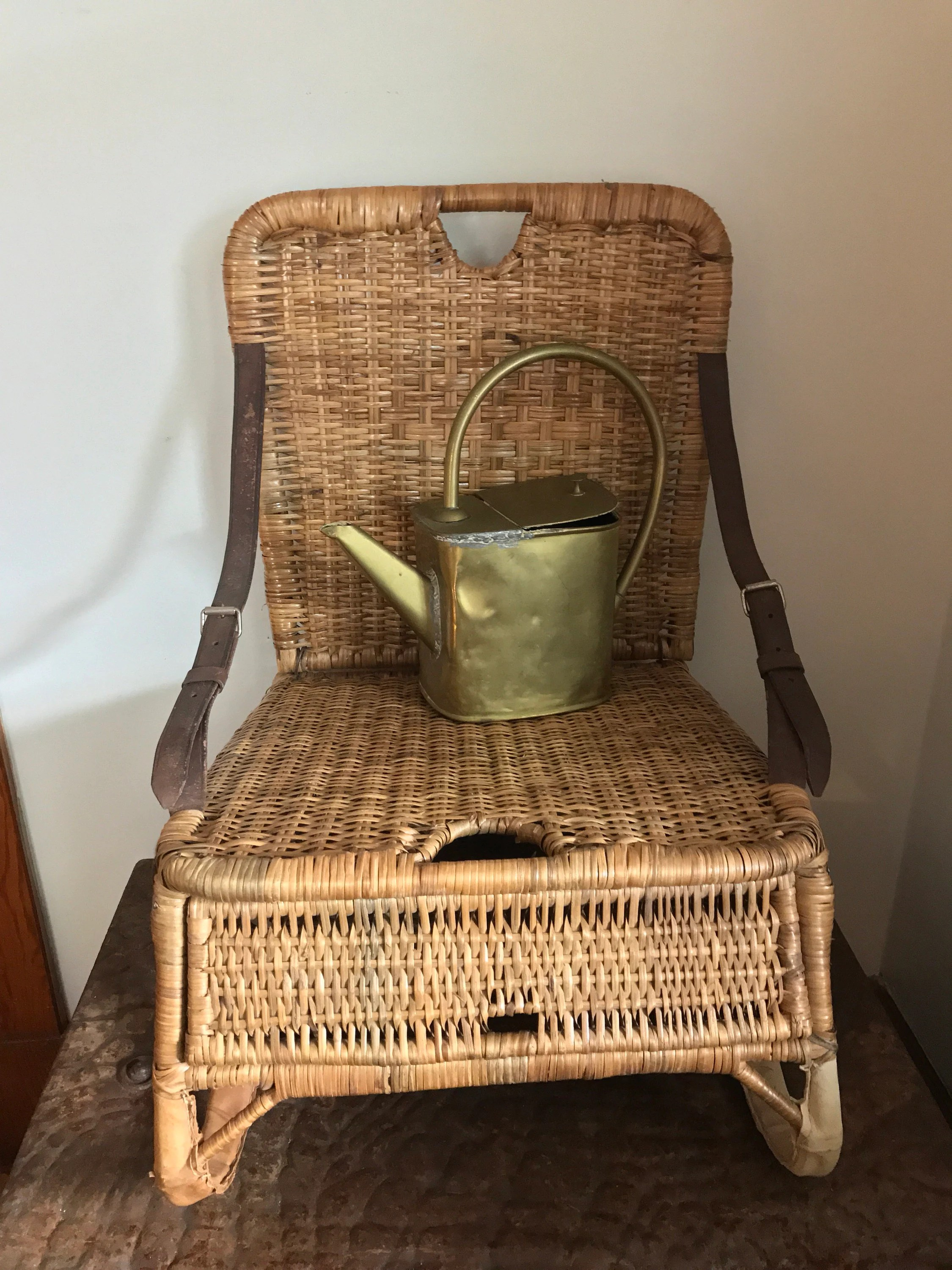 canoe chair resin adirondack chairs canadian tire seat vintage wicker fishing creel camp lodge etsy 50