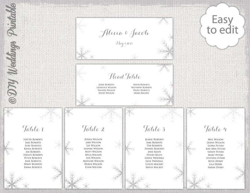 Snowflake seating chart template silver gray snowflakes printable cards diy winter wedding table plan you edit word download also rustic lace etsy rh