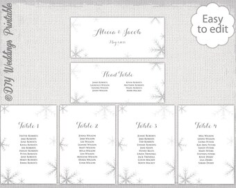 Snowflake seating chart template silver gray snowflakes printable cards diy winter wedding table plan you edit word download also travel bug etsy rh