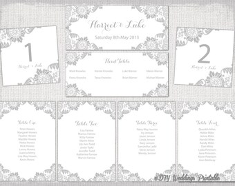 Wedding seating chart template silver gray antique lace printable table plan cards diy word instant download also snowflake etsy rh