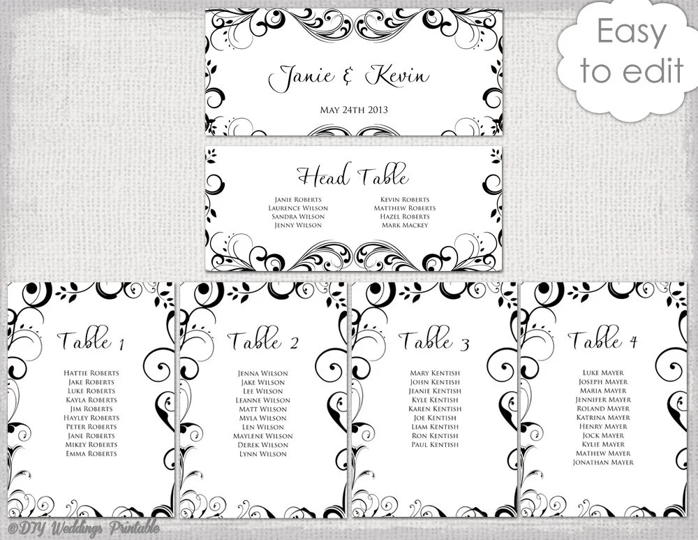 Wedding seating chart template black and white scroll printable table plan cards diy editable word digital download also pink flower garland tutti etsy rh
