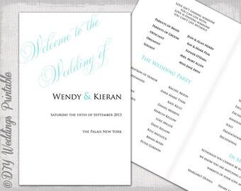Rustic Wedding program template Burlap & Lace DIY