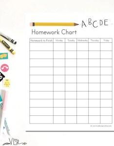 Image also homework chart printable instant download diy hand etsy rh