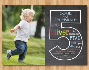 boy 5th bday invite etsy