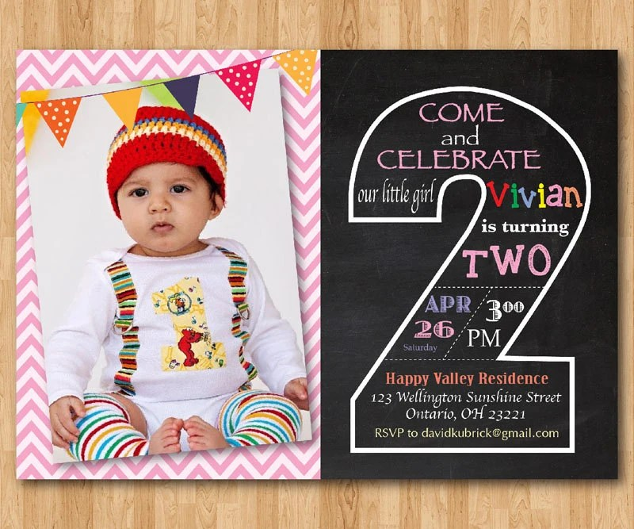 second birthday invitation chalkboard 2nd birthday invite with photo chevron baby boy or girl blue any color printable digital diy