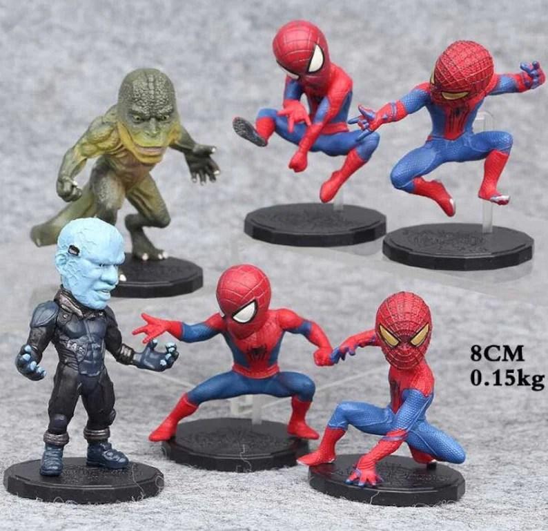 Spiderman Set Of 6 Birthday Cake Topper Figurines Toy Etsy