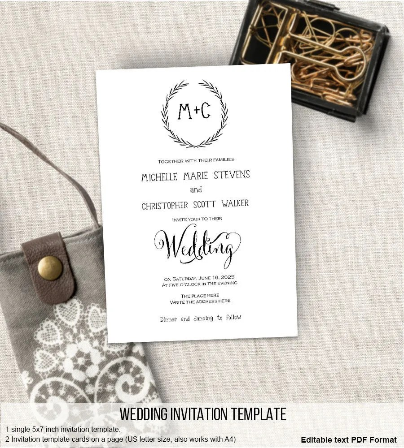 Do It Yourself Wedding Invitations Templates