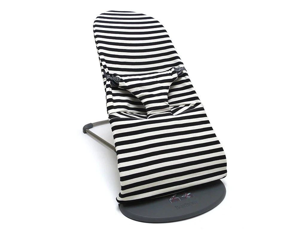 walker bouncing chair grey canvas covers baby bouncer etsy cover for babybjorn balance soft and bliss black white bold stripes 100 cotton jersey oeko tex standard certified