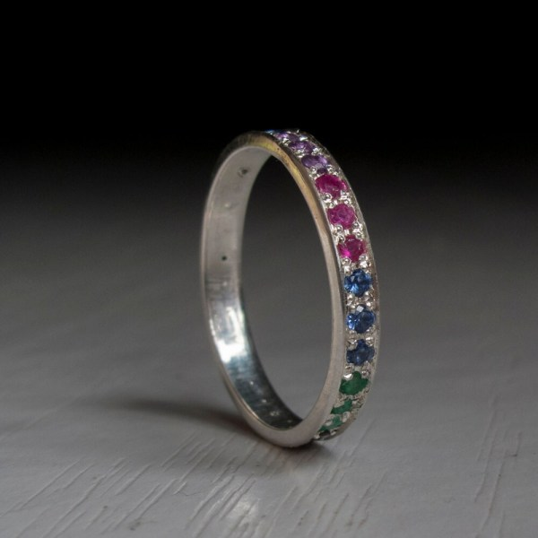 White Gold Silver Eternity Ring Sapphire Ruby Citrine