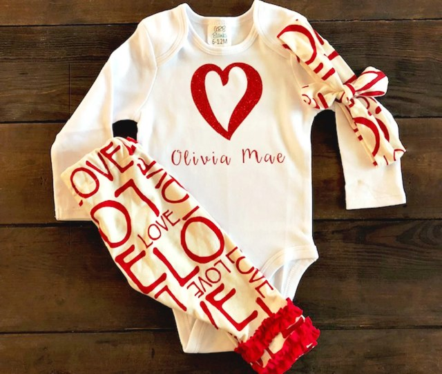 Personalized Baby Valentines Day Outfit My First Valentines Outfit Personalized Baby Girl Outfit Preemie Girl Clothes