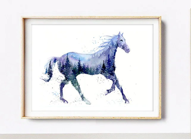 Night Stallion / Horse Mountains & Forest Spirit Animal | Etsy