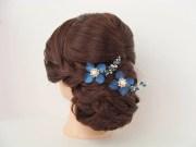 navy blue flower hair pins