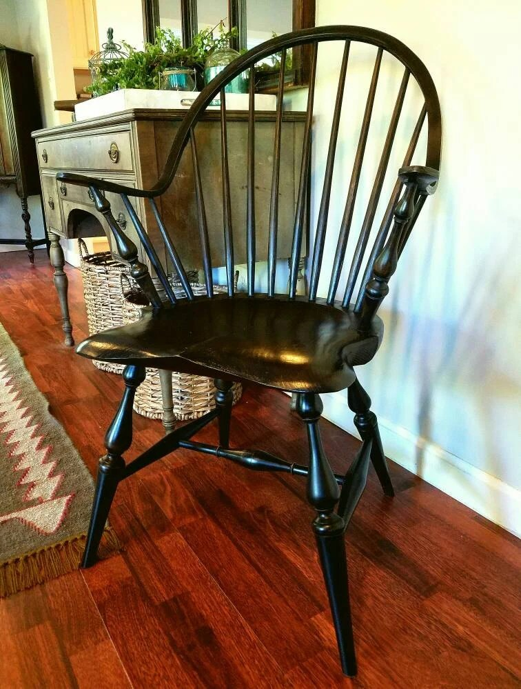 Windsor Chairs Black Continuous Arm Windsor Chair With Black Over Red Milk Paint Finish