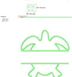 sea turtle monogram applique frame embroidery design image  [ 794 x 1123 Pixel ]