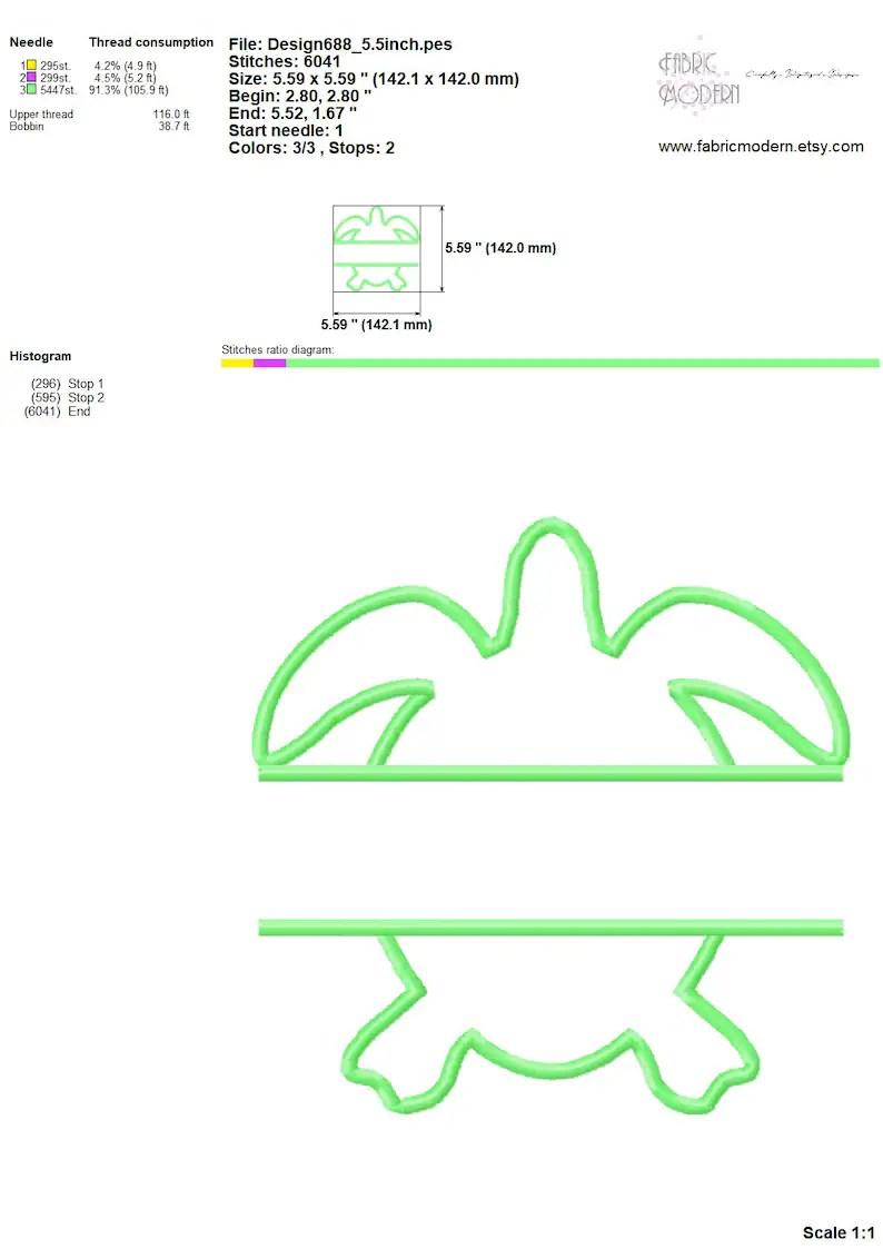 medium resolution of  sea turtle monogram applique frame embroidery design image