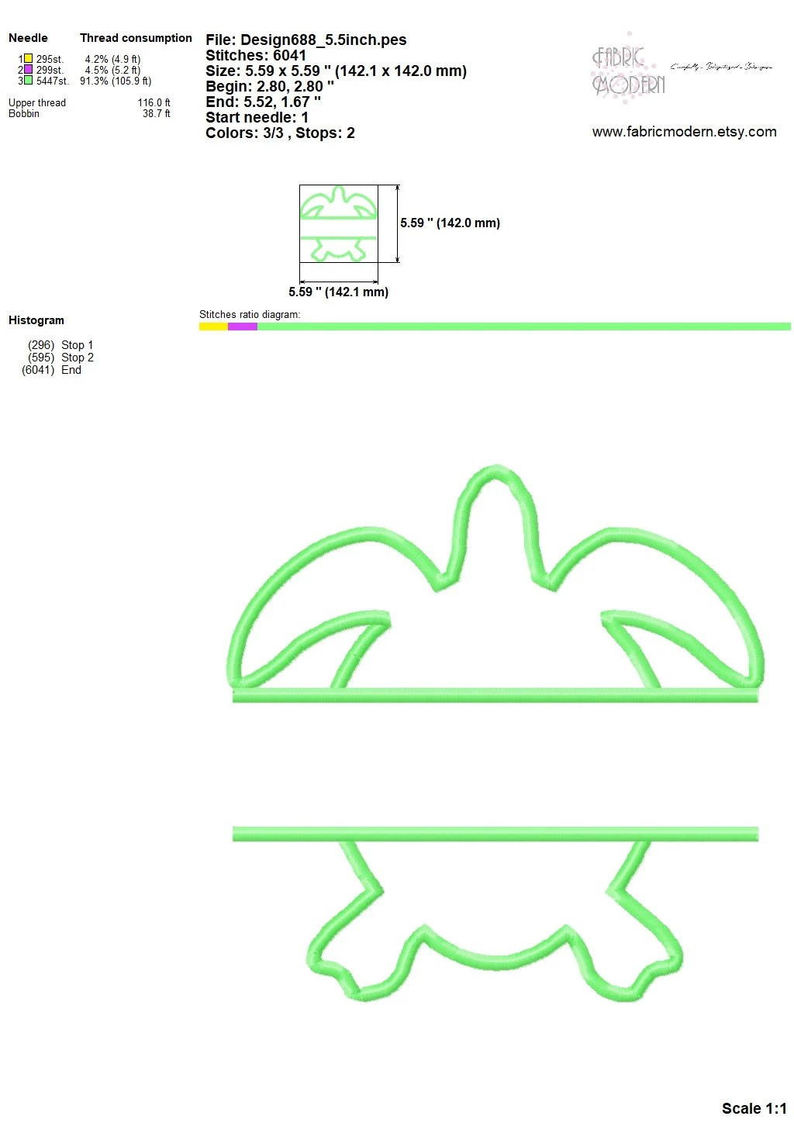 hight resolution of  sea turtle monogram applique frame embroidery design image