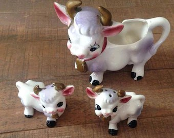 Cow Salt And Pepper Shakers Cow Kitchen Cow Decor Vintage