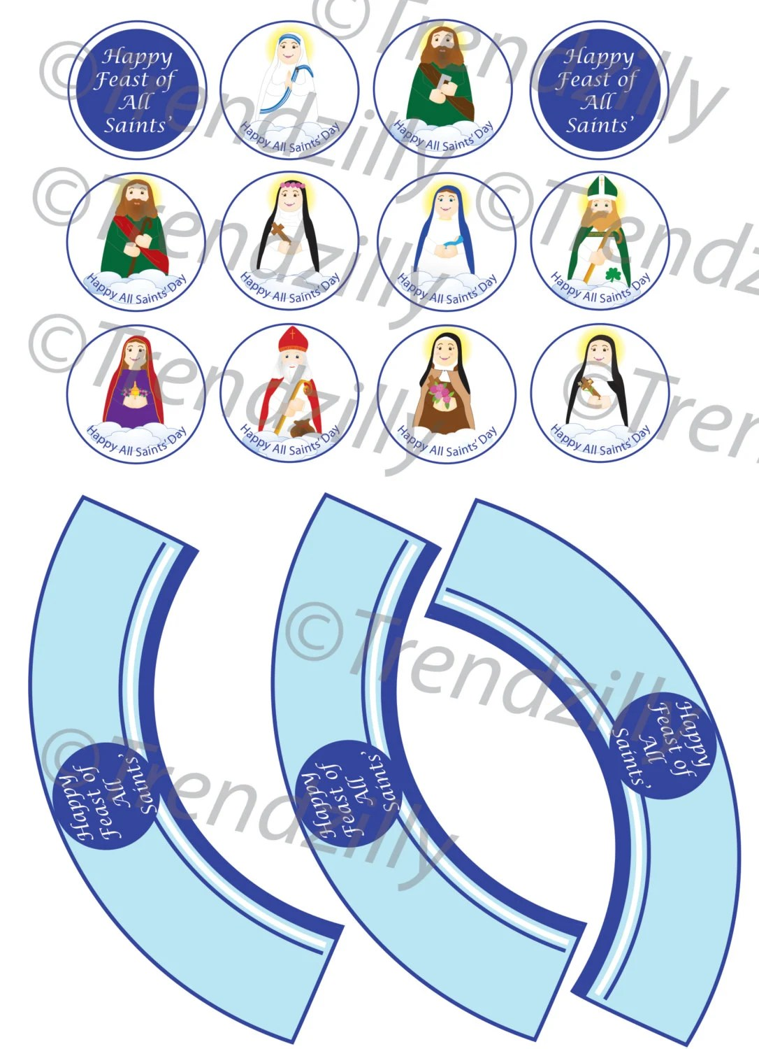 All Saints Day Cupcake Toppers And Wrappers Soft Saints