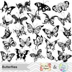 Instant Download Digital Butterfly Clip Art Butterfly Etsy