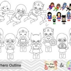 Black White Outline Superhero Girls Digital Clip Art Etsy