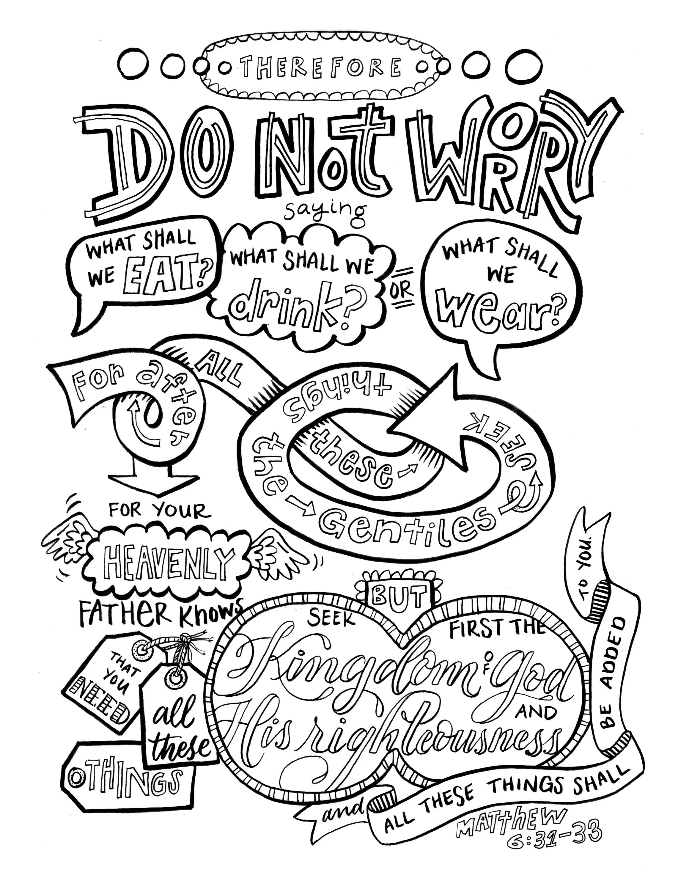 Coloring Page Bible Verse DO NOT WORRY printable download