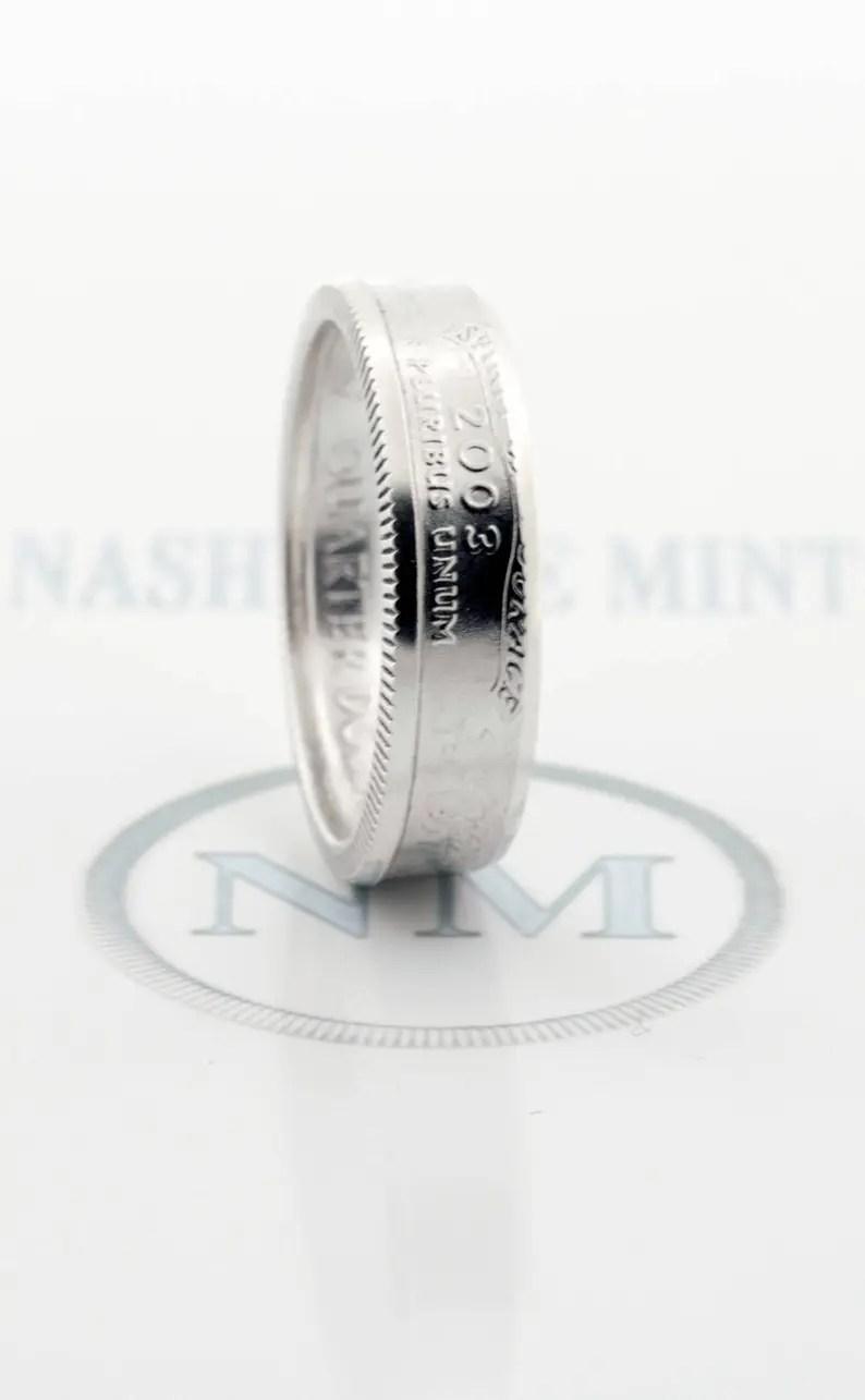 Coin Ring 2003 Silver Quarter CoinRing Illinois Alabama image 0