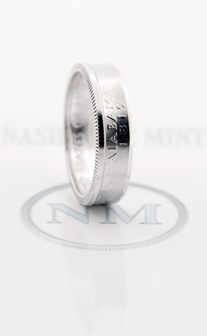 Coin Ring 2003 Silver Quarter CoinRing Illinois Alabama image 1