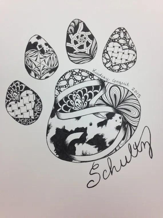 Dog Paw Drawing : drawing, Zentangle, Drawing
