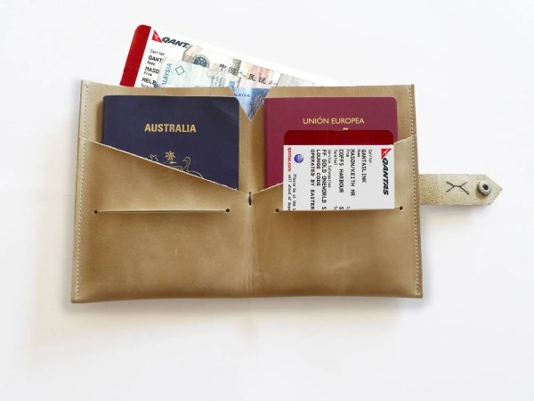 Leather Passport Holder Double Cover Travel
