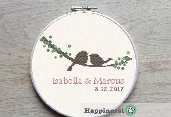 Wedding Cross Stitch Pattern Love Birds Twig Diy